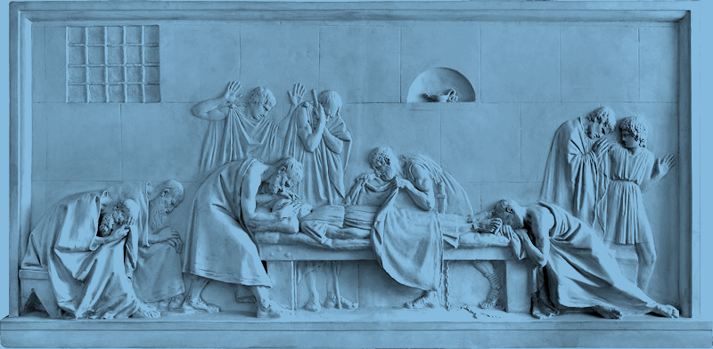 One of the three scenes devoted to the death of Socrates as narrated by Plato in Phaedo, by Pietro Fontana in 1790.