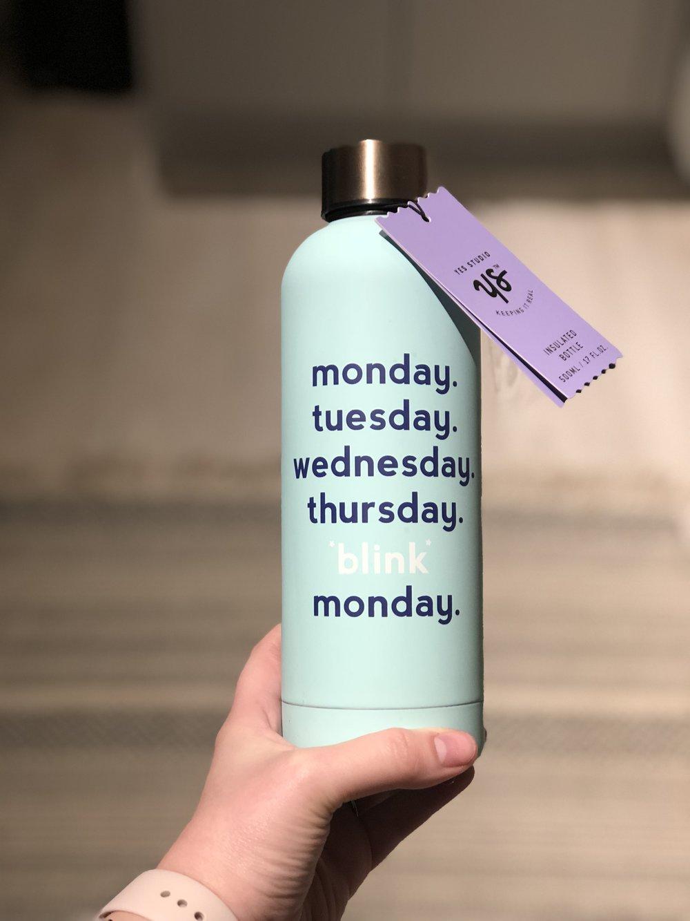 Yes Studio Water Bottle , 'Monday Blink'