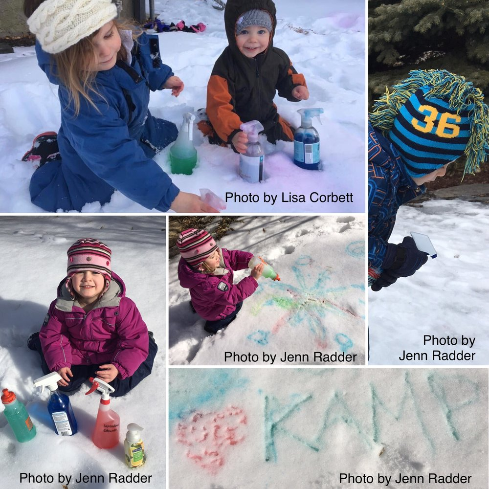 Kids having fun snow painting