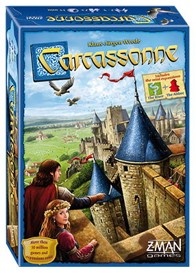 In Carcassonne, players build the area surrounding this impressive city, one tile at a time. They then place a follower on fields, cities, roads or monasteries in order to score as many points as possible. These followers will become knights, monks, farmers and thieves, depending on where they are placed. No matter their function, the player who will most cleverly use their followers will win the game.