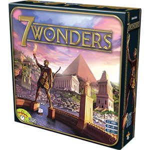 Lead an ancient city as it rises to become a world power in 7 Wonders, a competitive civilization building game set in the ancient Mediterranean and designed by Antoine Bauza. You might fortify your city and assault your neighbors in search of military victory, create a haven for artisans, scientists, and philosophers, or focus your economy and profit from trade. You might even complete a magnificent architectural wonder that will fascinate mankind for eons to come and grant your city lasting renown.