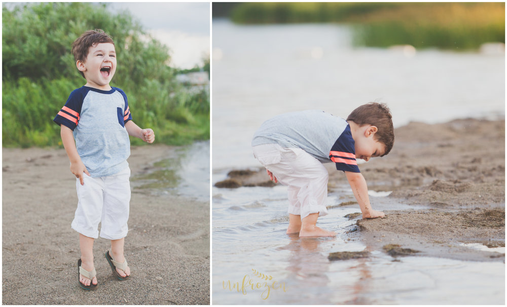 For his 3-year-old photo session I took my son to a small beach nearby!  He loved it, and I got the great photos I was looking for!  WIN WIN!
