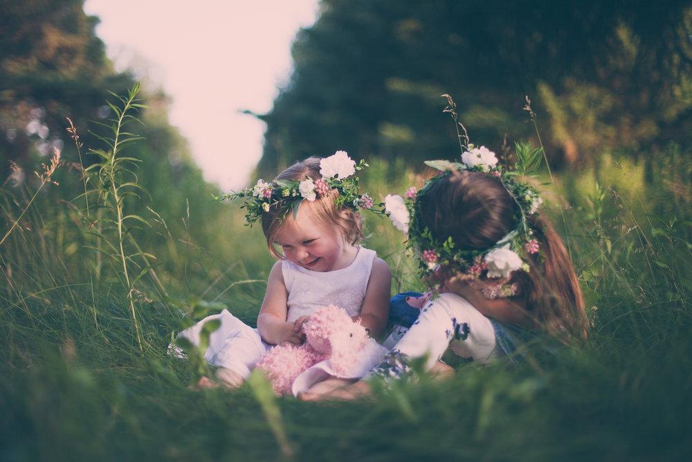 Preschool Girls in Grass with Floral headbands