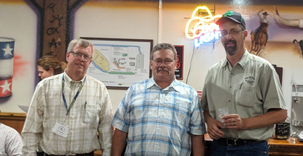 Advisors Alan Heikkla, Meridian FFA; Rick Hance, Glens Ferry FFA; Joe Blackstock, Kuna FFA are recognized for thirty years of service and teaching agriculture.