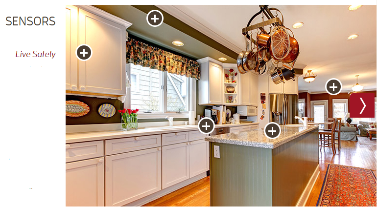 """A picture of a kitchen with signs indicating sensors throughout. The caption says, """"Live Safely."""""""