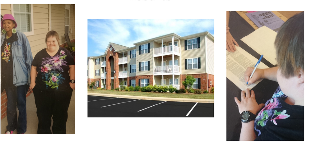 Charles Lea Center clients pose outside their new apartments; a picture of the apartments; one client signs a lease.