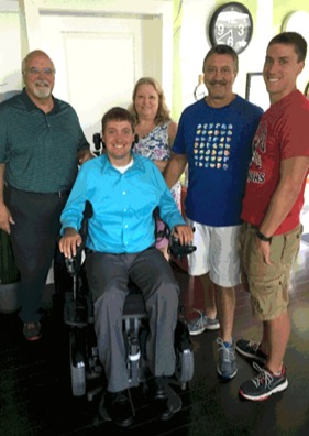 Allen Ray visits with the Keefer Family