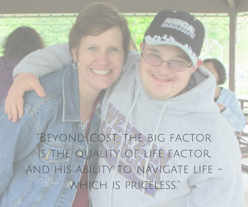 """A picture of David and his mom, with her quote: """"Beyond cost, the big factor is the quality of life factor, and his ability to navigate life, which is priceless."""""""