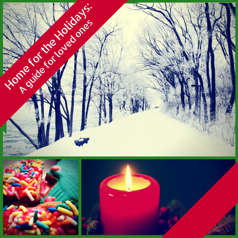 """A graphic showing a winter scene, holiday cookies, and a holiday candle says """"Home for the Holidays: A Guide for Loved Ones"""""""