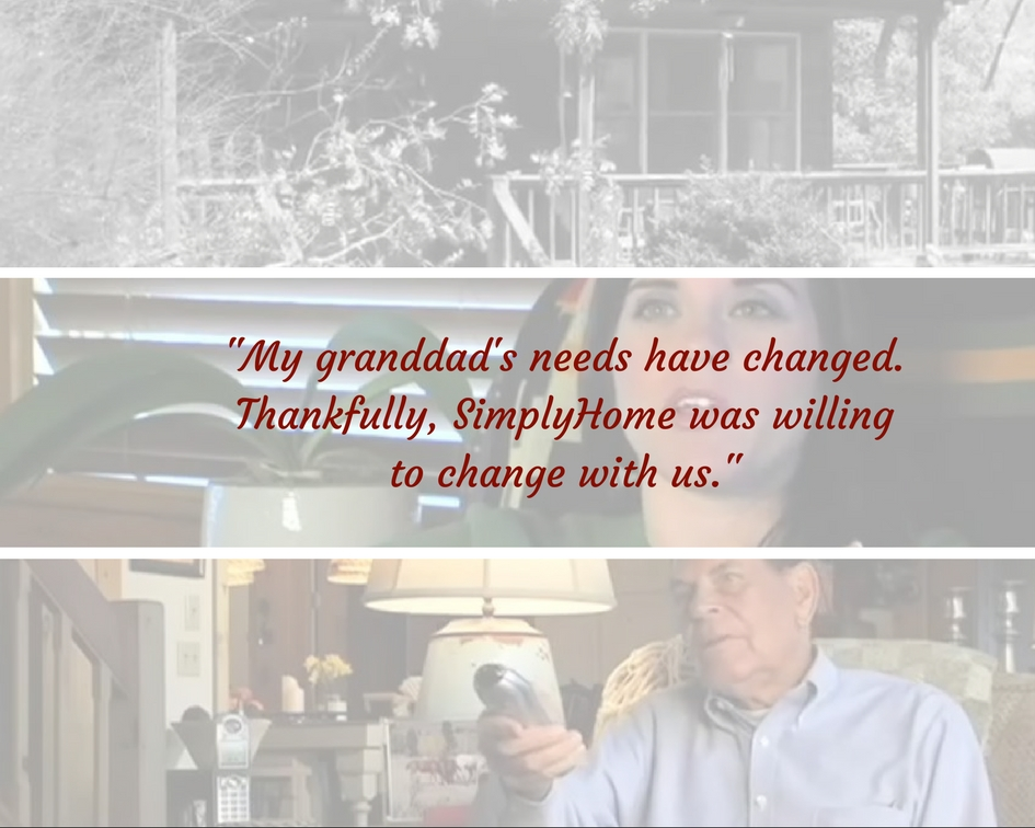 "The graphic shows a grandfather and a granddaughter, with the words, ""My granddad's needs have changed. Thankfully,  Simply Home was willing to change with us."""