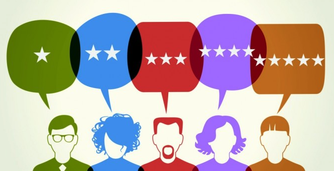 A graphic showing an array of five individuals in different colors who each have something to say, from one star to five stars.