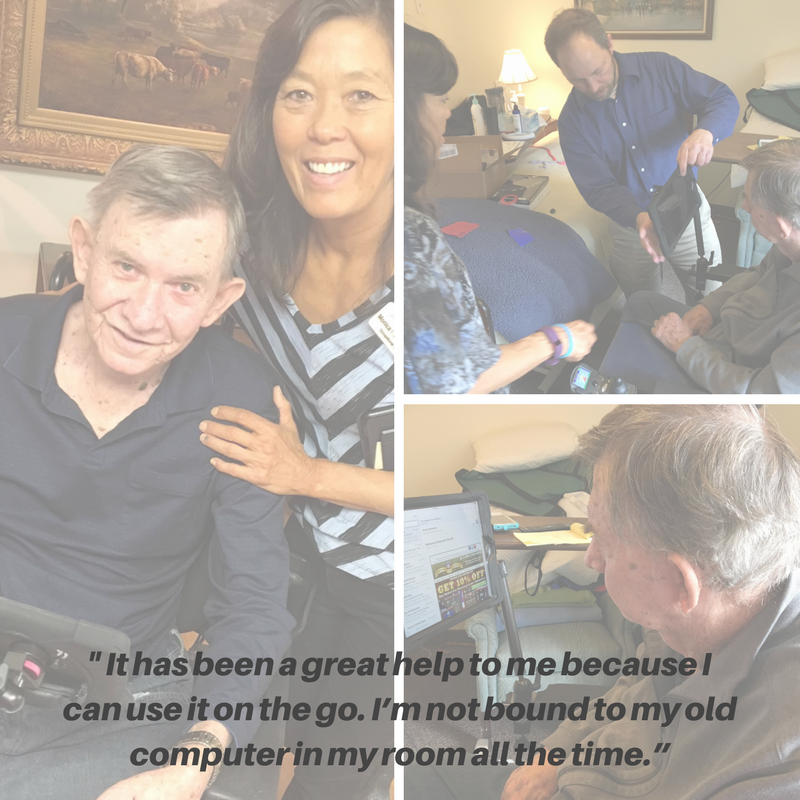 "The image displays a quote from Charles: ""The technology has been a great help to me because I can use it on the go. I'm not bound to my old computer in my room all the time."" The three pictures show Charles with a caregiver, Charles with  Simply Home technician Steve, and using his new wheelchair-mounted iPad."