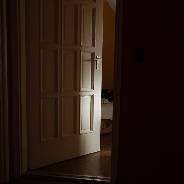 An image of an open door