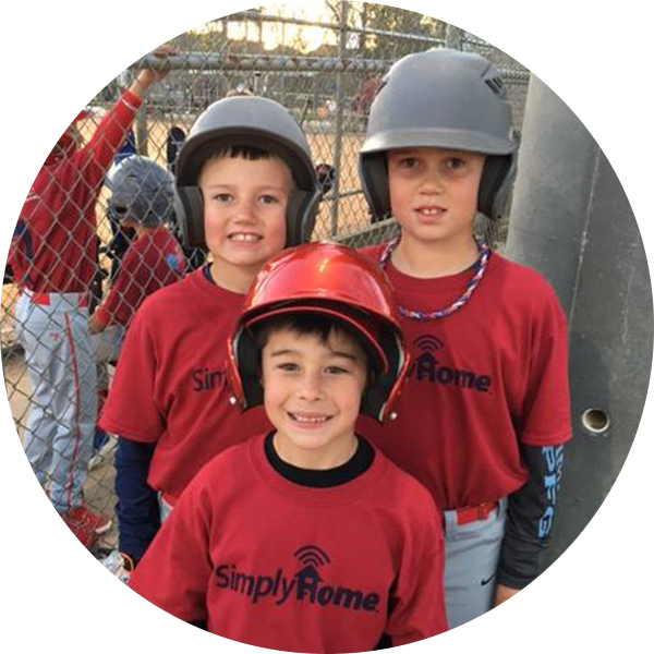 Kids Baseball Team wearing SimplyHome Uniforms