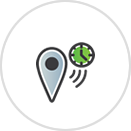 Caregiver Check-In Icon with a Clock and Check-In Point.png