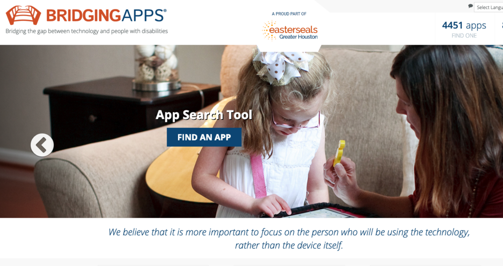 The homepage of the Bridging Apps website, a proud part of EasterSeals Greater Houston. The page says that it contains