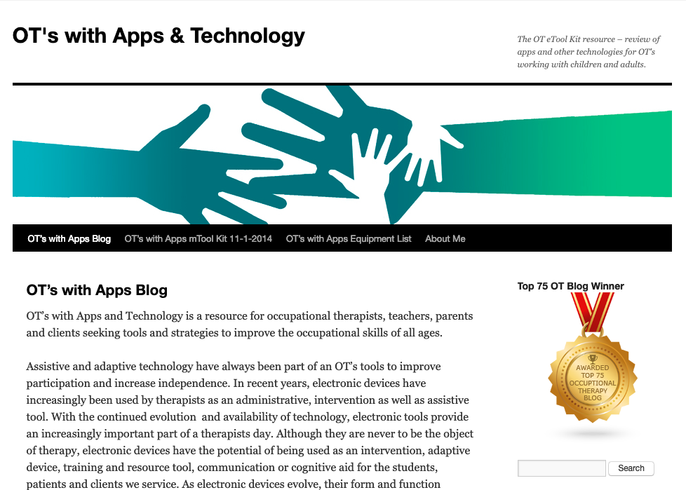 A screenshot of a webpage entitled OT's with Apps & Technology.