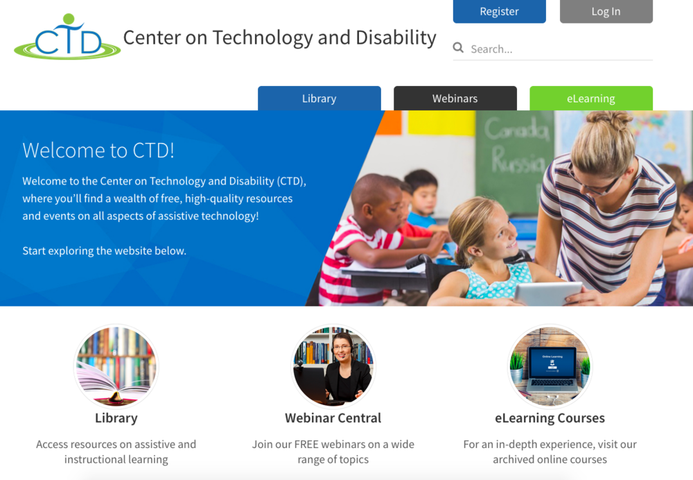 Screenshot of Center on Technology and Disability website