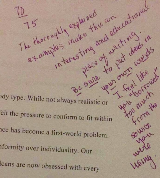 Comments from a community college professor on an essay written by a Latina senior at Manual High School (Fall 2015).