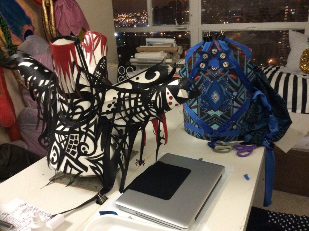 """Image of interior of Denenge's studio, with headdresses in progress for the """"Ma(s)king Her"""" 2017 performance by Honey Pot (based on drawings and textiles by Euzhan Sims. Image courtesy of artist."""