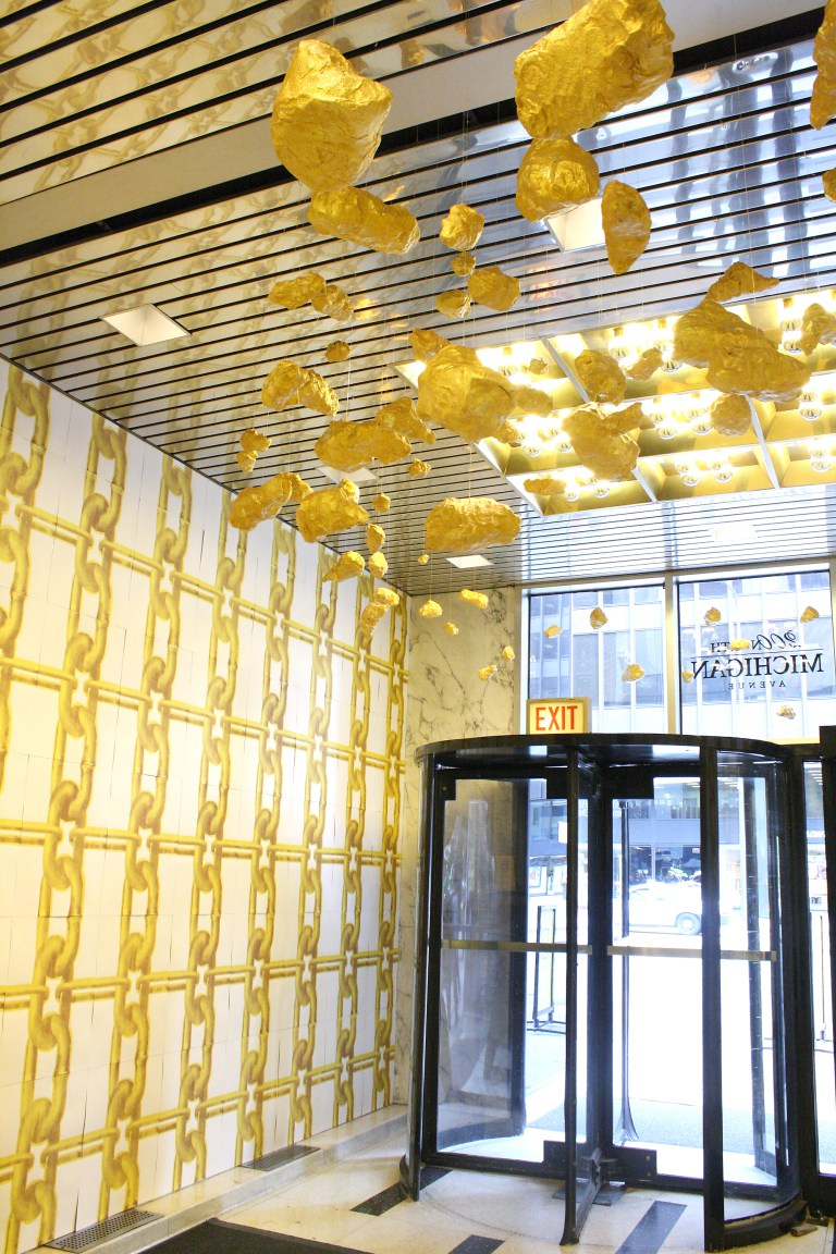 """D. Denenge Duyst-Akpem, """"Gold Nuggets For All!"""" 2011. Installation image from Looptopia at the Hard Rock Hotel annex. Image credit: Tempestt Hazel."""