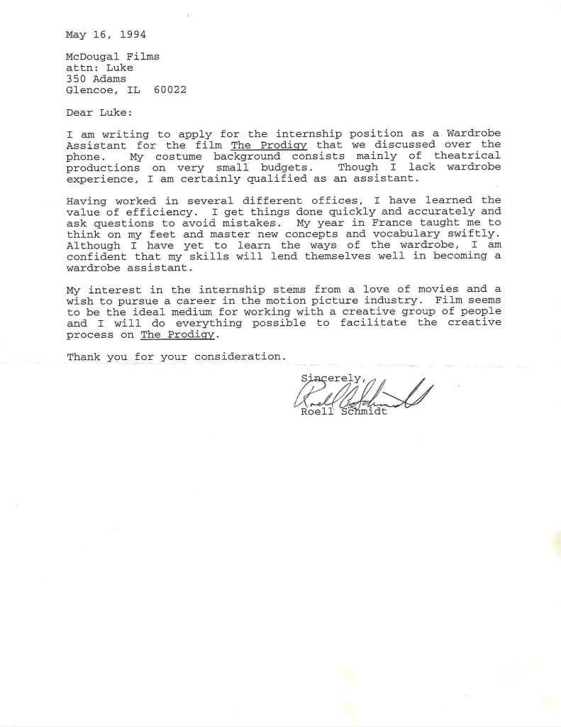 "Letter of application for internship on the film ""The Prodigy,"" 1994. Image courtesy of Roell Schmidt."