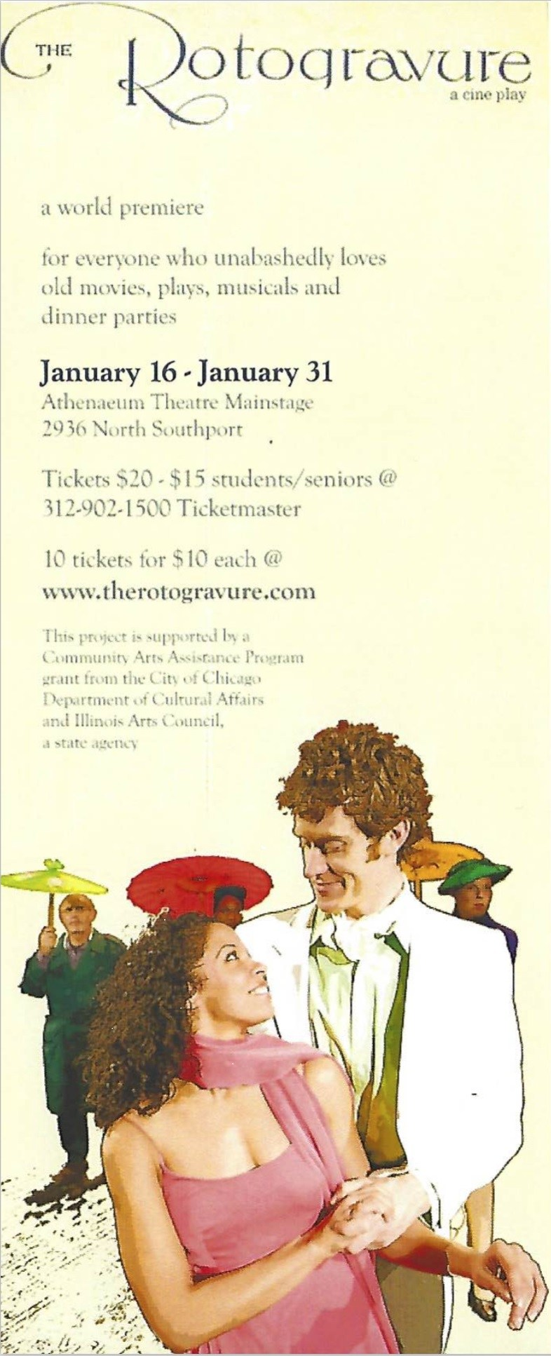 "Flyer for premiere of ""The Rotogravure,"" featuring the characters Helen and James gazing at one another with other characters holding parasols in the background. Image courtesy of Roell Schmidt."