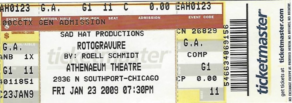 "Ticket stub for ""The Rotogravure"" production at the Athenaeum Theatre, 2009. Image courtesy of Roell Schmidt."