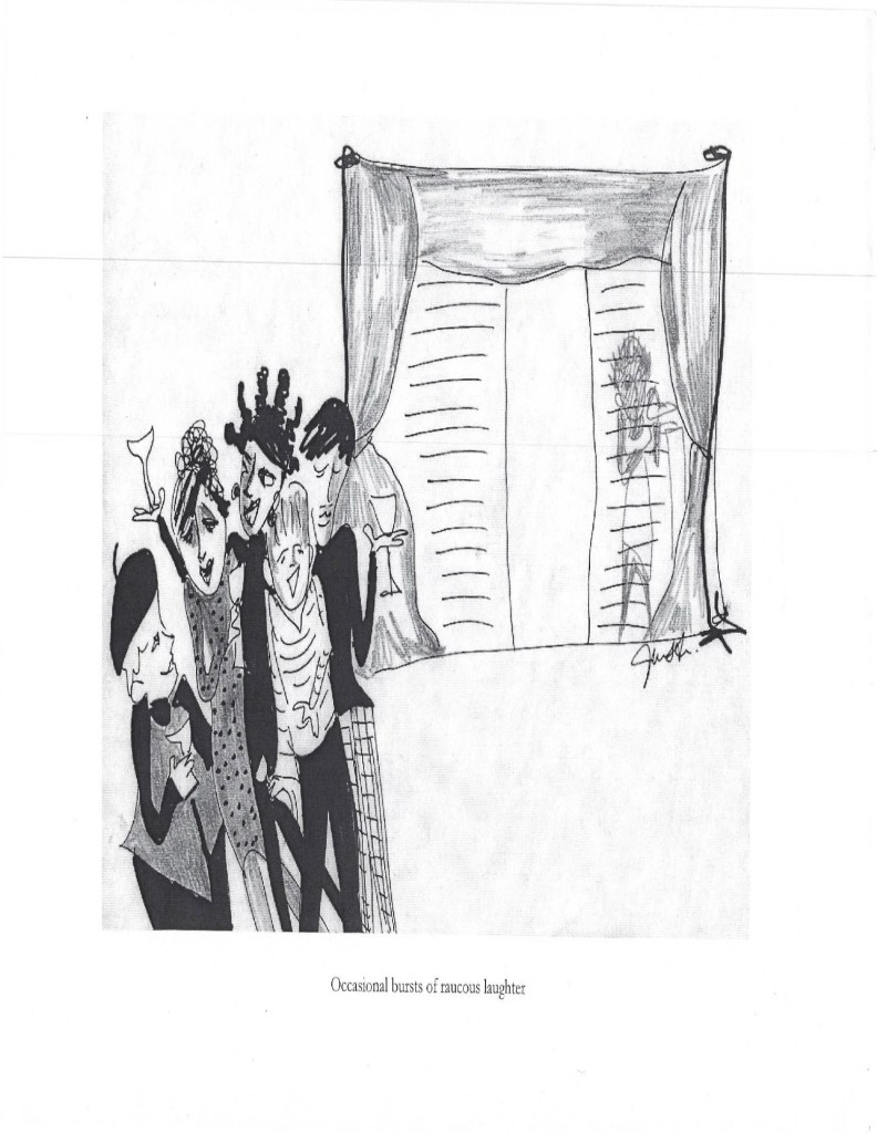 "Illustration for ""The Rotogravure"" by Janet Arvia. A group of people stand together laughing at a party with a window in the background. Image courtesy of Roell Schmidt."