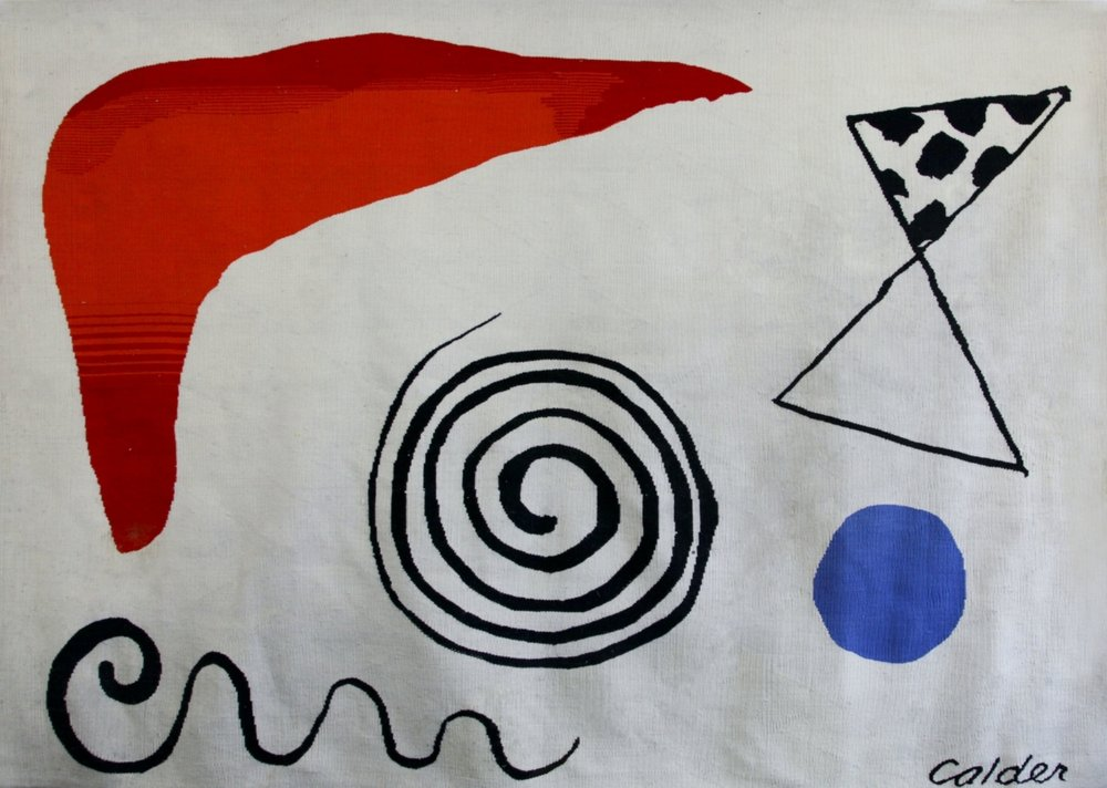 "Alexander Calder, Spiral, 1/1 Aubusson Tapestry Woven by Yvette Cauquil Prince 77""x112"" authenticated by Jane Kahan, Jane Kahan Gallery, NYC"