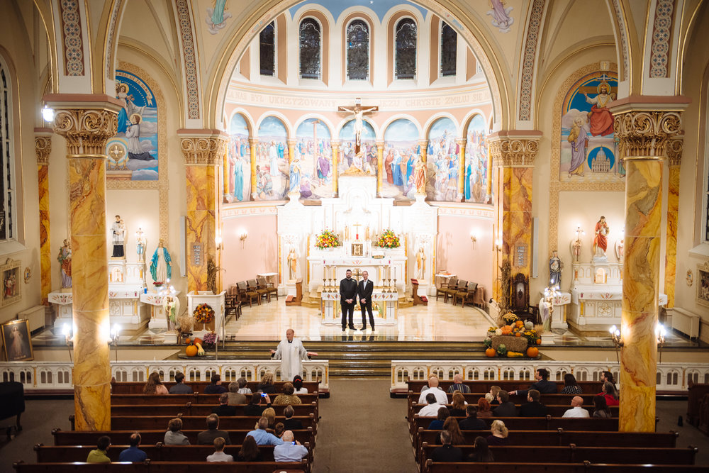 United States, Missouri, St. Louis. Mark Spavale (left) and Mathieu Monnet (right) stand on the altar during the wedding in Saint Stanislaus Church in St. Louis. Spavale, an ordained Catholic priest, said that he followed proper protocol when asking the Vatican permission to marry his husband. The Vatican did not respond to his request (technically granting tacit approval) so Spavale & Monet were married their friend Father Marek. Spavale & Monnet live in Paris, but returned to St. Louis to have a ceremony with Spavale's family.