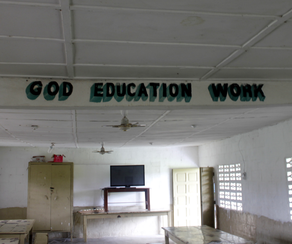 "The Motto of Liberia Mission is ""God, Education, Work"""