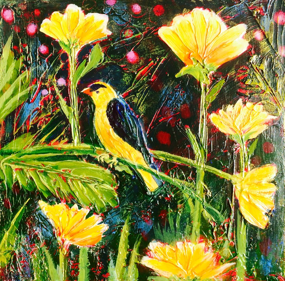Garden Visitor. acrylic on panel