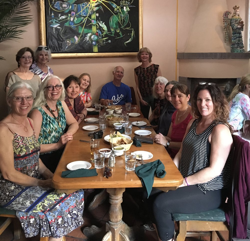 Farewell fiesta dinner with our wonderful creative participants.  Standing : Liz, Paula and Suzanne. Counter clockwise from left: Wendi, Fanny, Sandi, Annie,  Bob, Kathy, Laura, Flo, and Eileen