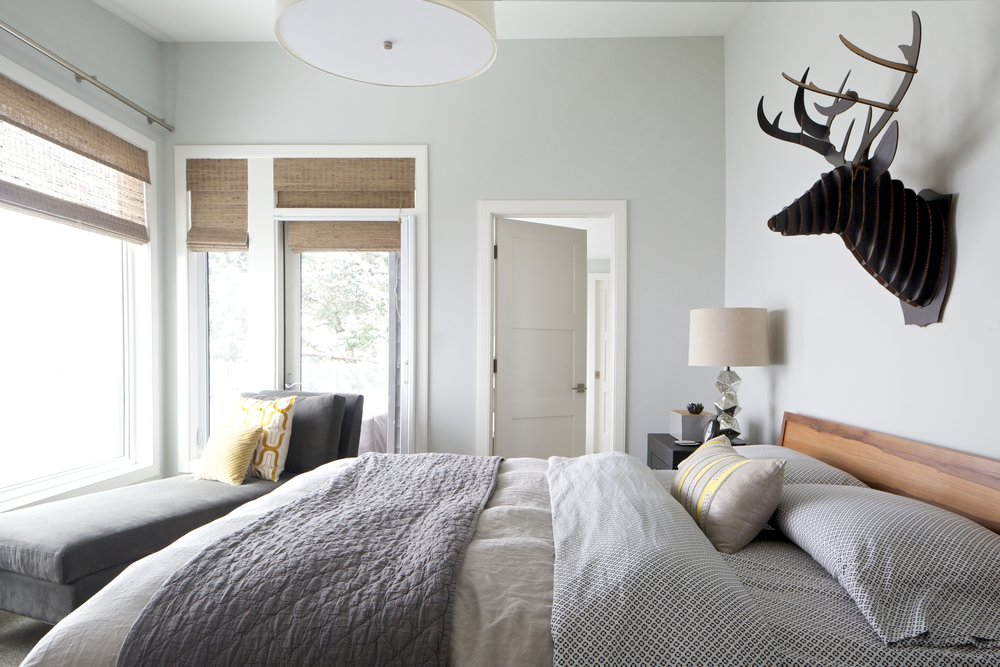 Sylvan Lake Cottage, Master Bedroom, Nyla Free Designs Inc., Phil Crozier Photography