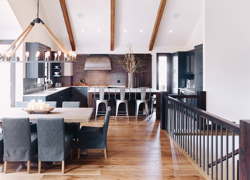 Canmore Mountain Retreat, Kitchen, Dining Room, Nyla Free Designs Inc., Calgary Interior Designer