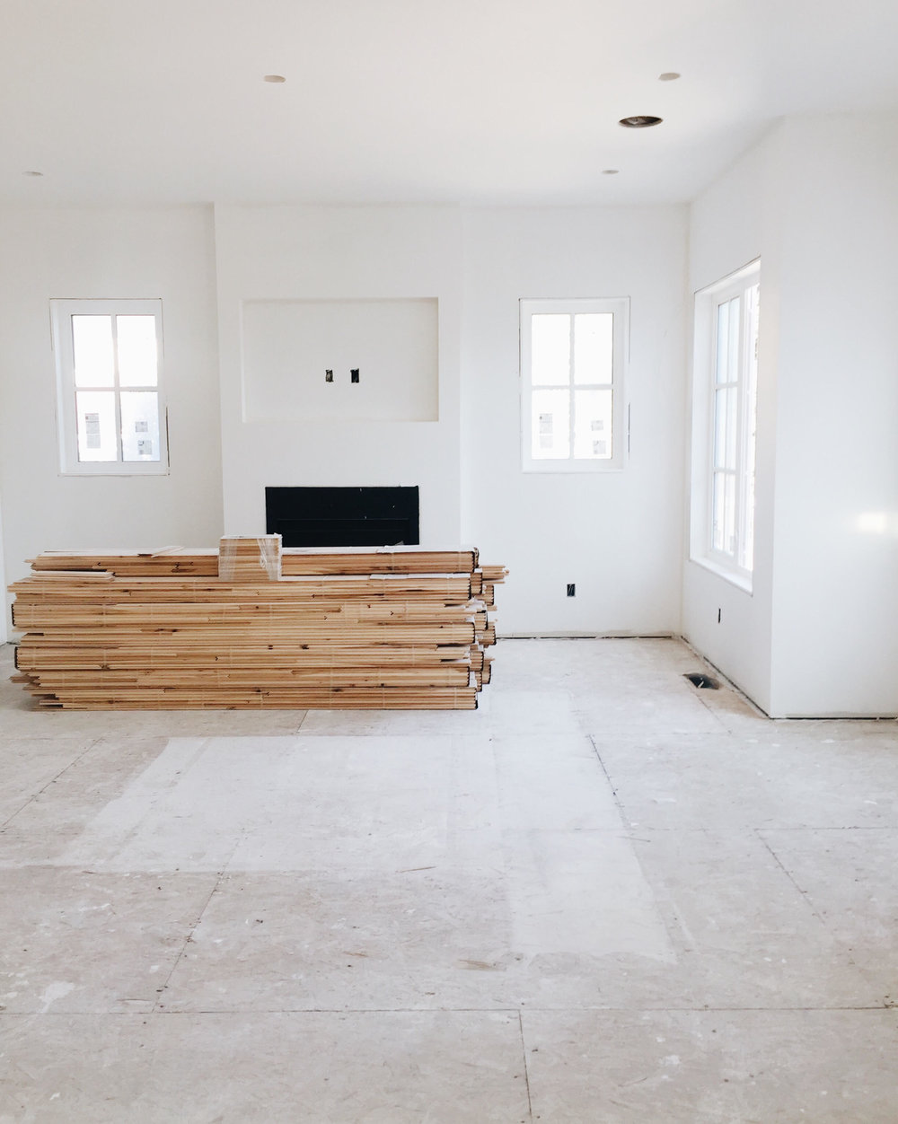 The family room back in August 2017, ready for hardwood floor installation.
