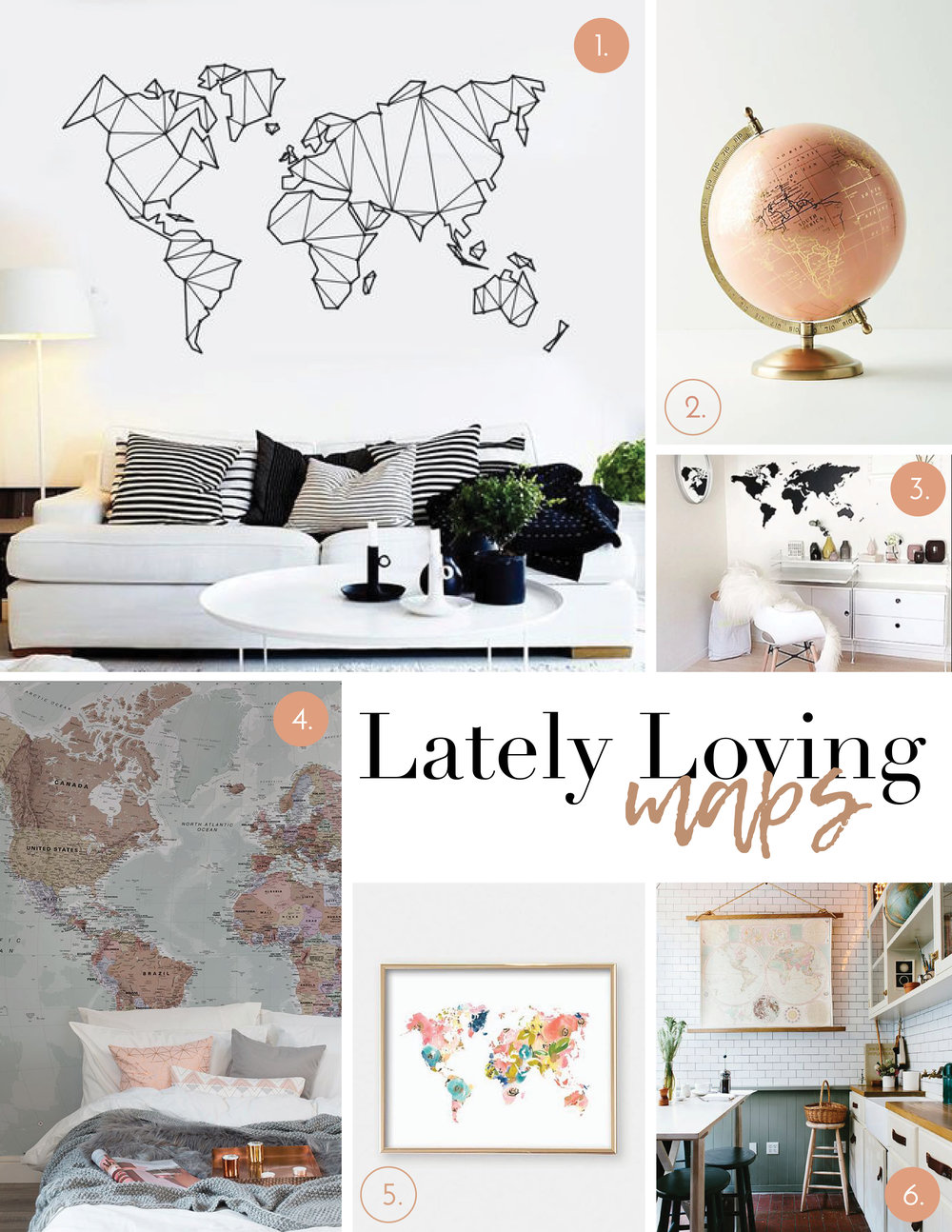 1. Wall Decal   |   2. Globe   |   3. Wall Stickers   |   4. Mural   |   5. Floral Map Print   |   6. Hanging Print