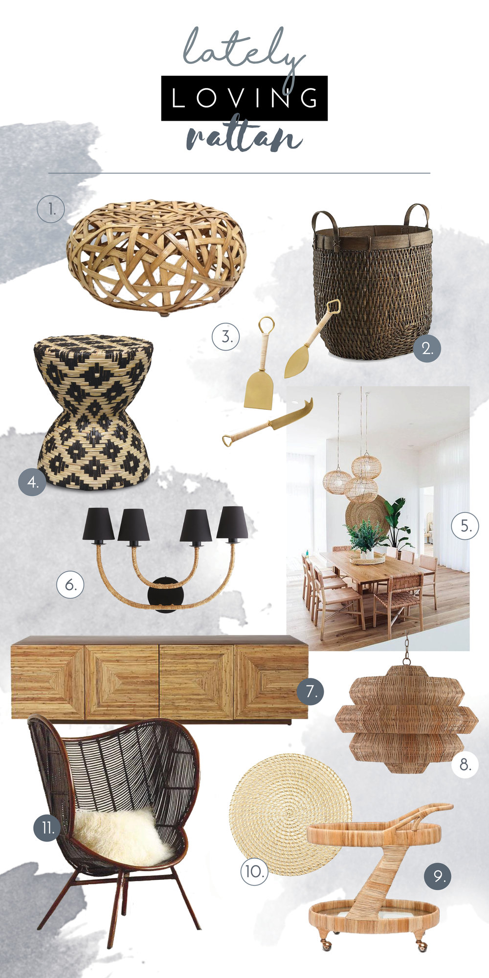 1.   Ottoman   | 2.   Basket   | 3.   Knife Set   | 4.   Side Table   | 5.   Image   | 6.   Wall Sconce   | 7.   Credenza   | 8.   Chandelier   | 9.   Bar Cart   | 10.   Placemat   | 11.   Chair