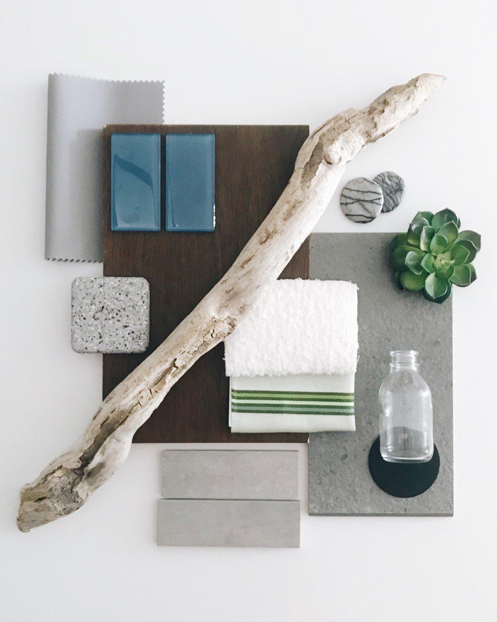 Indoor Pool Colour Palette, Mood Board, Calgary Interior Designer, Nyla Free Designs