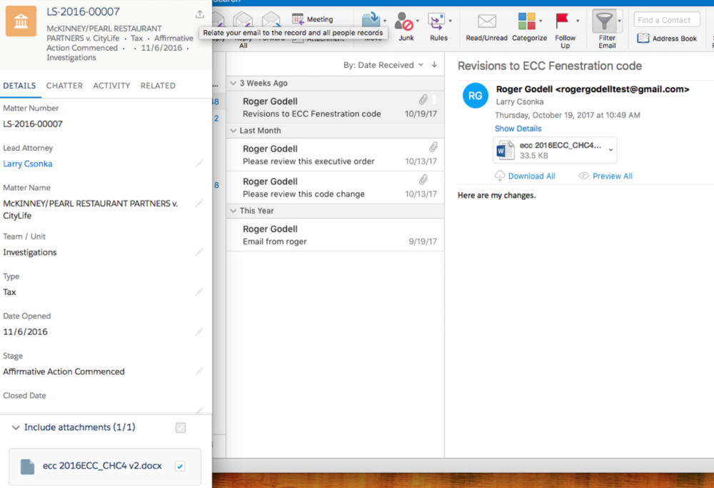 Unparalled Outlook and Gmail Integration - Perform day-to-day matter management activities within Outlook or Gmail. Add notes, create and edit matters or approve emails by simply replying