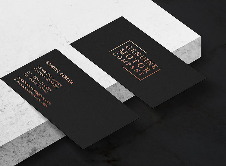 Stationery modern definiton business cards printed on 24pt black smooth suede with metallic copper foil stamping reheart Image collections
