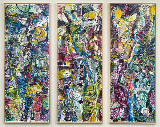 "dictionary see winter puerto rico , 2015 acrylic on canvas triptych 80 x 30"" each"