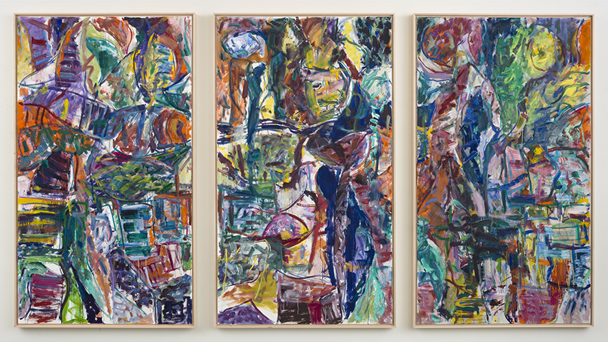 "dictionary fly and see ,2015 oil on canvas triptych 70 x 40"" each"