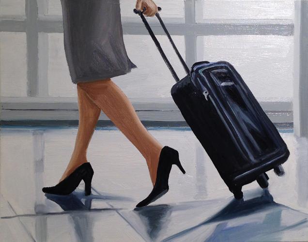 """flight attendant , 2014 Oil on canvas 24 x 30"""""""