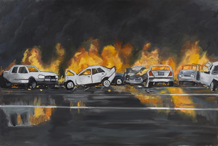 """thruway crash , 2013 Oil on canvas 60 x 90"""""""