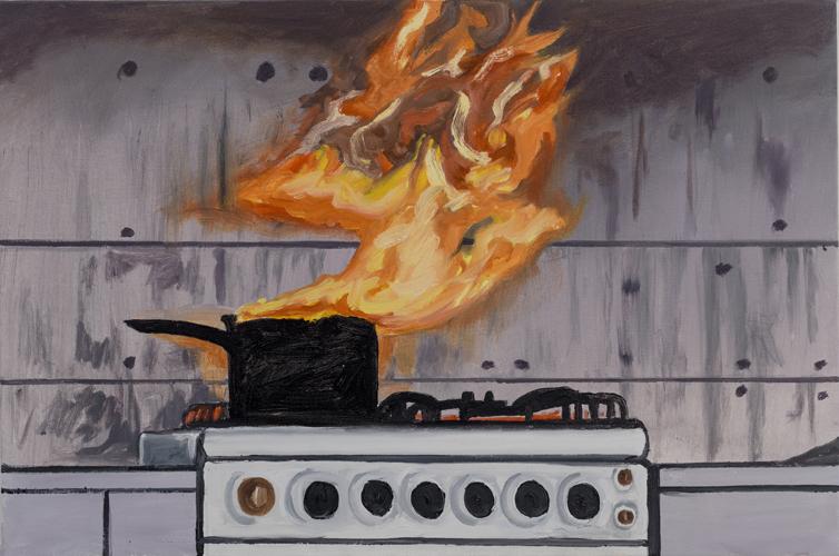 "kitchen fire , 2013 Oil on canvas 24 x 36"""