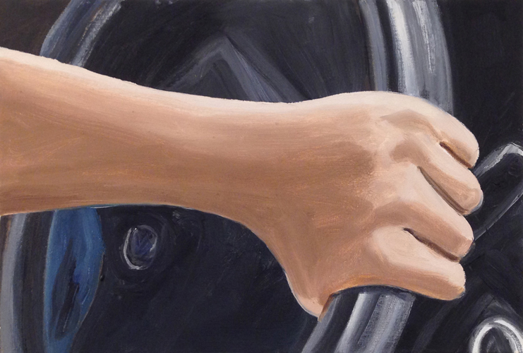 """swerve , 2014 Oil on canvas 15 x 22"""""""