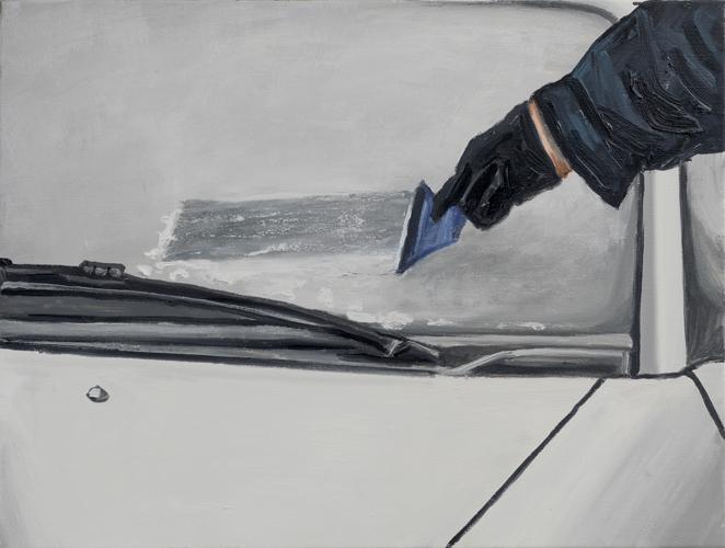 "scrape , 2013 Oil on canvas 24 x 32"""