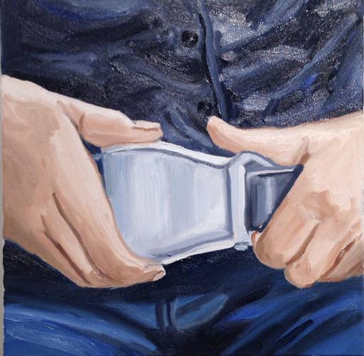 """buckle , 2014 Oil on canvas 18 x 18"""""""